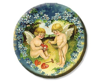 "Cherubs Healing Heart Victorian Pocket Mirror, Magnet or Pinback Button - Shower Favors, Bridesmaid, Wedding 2.25""- MR313"