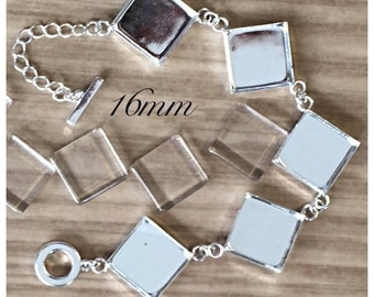 1pc..Square Bezel Bracelet...16mm...comes with glass tiles