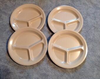"Set Of 4--Vintage--Dallas Ware--Compartment --Divided--PLATES--10-7/8"" Diameter--Melamine"