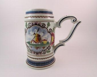 Vintage Delfts Holland Beer Mug Tankard Delfts Polychrome Hand Painted Made in Holland