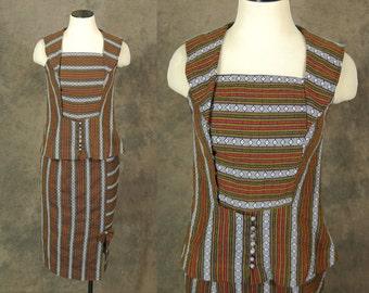 vintage 60s Suit -  1960s Pencil Skirt and Blouse Set - Ethnic Striped Sailor Collar Skirt Suit Sz S