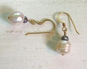 Pearl Earrings: Simple Wire-Wrapped Baroque FWP Dangles w/14Kt GF Ear Hooks