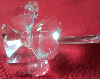 Crystal Flower Art Glass Paperweight Vintage Petals Stem Figurine