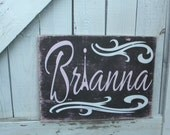 Personalized name sign, Paris sign, Eiffel Tower art, Girls name sign, shabby chic room decor, nursery room art, teen girl sign
