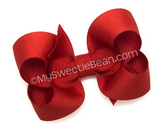 """Tomato Red Hair Bow, 3 inch Hair Bow, Solid Color Bow for Girls, Toddler Hairbow, Red Orange, Tomato, 3"""" Boutique Bow for Babies"""