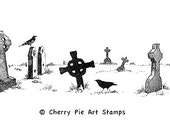 CELTIC GRAVEYARD / cemetery -  CLiNG RuBBer STaMP by Cherry Pie Art Stamps