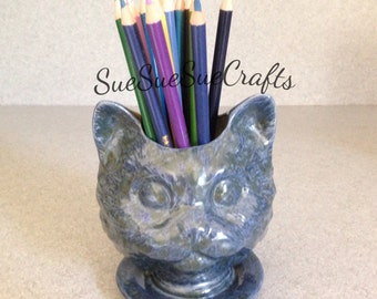 Cat Planter Glazed blue  ceramic doll head Cat lady planter kitty kitty #ABCAT