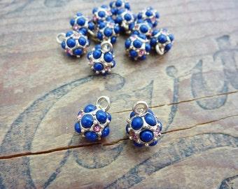 Bead Charm Drop Dangle Rhinestone Charm Rhinestone Drop Rhinestone Dangle Navy Blue Pink (2)