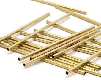 Brass Choker Findings, 25 Huge Raw Brass Square Tubes (2x70mm) Bs 1573