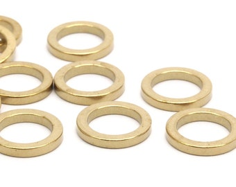 14mm Brass Rings, 12 Raw Brass Circles (14x2x2mm) Bs 1346