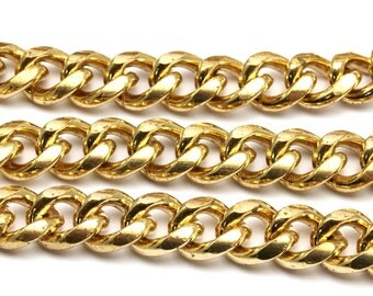 Link Chain, Curb Chain, 1 M Faceted Raw Brass Open Link Curb Chain (11x9.5mm) Bs 1008