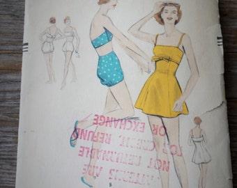 Rare 1950's Vogue 8635 Bathingsuits size 12