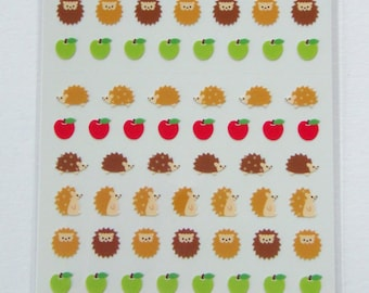 Cute Hedgehogs & Apples Stickers From Japan