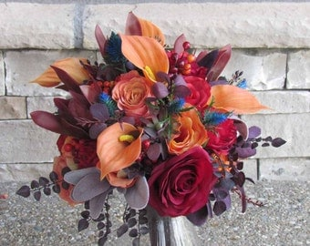 Fall Bridal Bouquet in Oranges, Reds & Burgundy for your Wedding, Example Only!! DO NOT PURCHASE