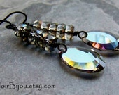 Swarovski Earrings-Crystal Earrings-Starlight-Vintage Swarovski-Smoky-Sultry-Black Metal Earrings-Dark Jewelry