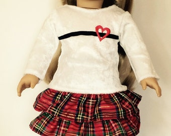 Red Plaid Holiday Flirt Skirt Outfit - 18 Inch Doll Clothes