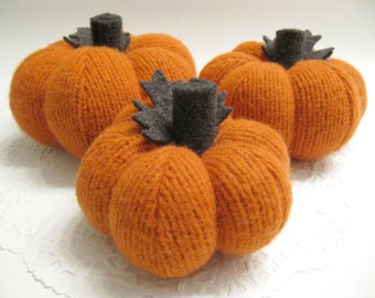 Trio of Fabric Sweater Thanksgiving Pumpkins Farmhouse Style Rustic Primitive Prim Handcrafted from Felted Wool Sweaters (no.695)