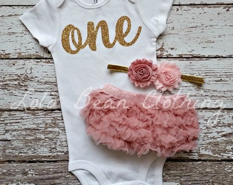 Baby Girl 1st Birthday Outfit Cake Smash Gold One Bodysuit Dusty Rose Bloomers Light Pink Headband
