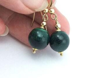 Deep Green Malachite Gemstone Drop Earrings, Handmade, gold filled wire, Natural Malachite