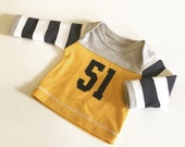 READY TO SHIP - Newborn Baby Boy Coming Home Outfit, Boys Clothing, J. Crew Inspired Varsity Rugby Football Shirt