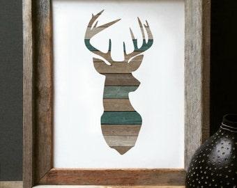 Wooden Deer Print