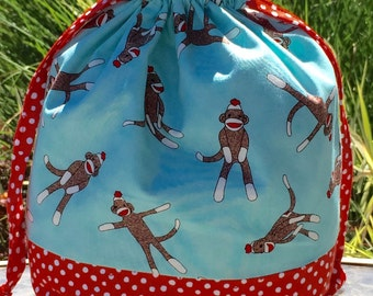Sock Monkey! - Lined Drawstring Project Bag