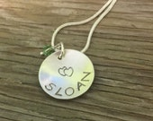 Hand stamped  sterling personalized 3/4 inch pendant with birthstone crystal- Moms jewelry