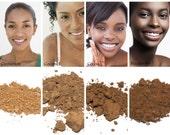 Sweatproof, Natural Foundation SAMPLES - Medium to Dark Complexions - Vegan Makeup, Loose Powder, Makeup for Sensitive Skin, Makeup for Acne