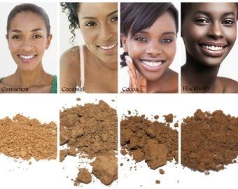 Sweatproof, Natural Foundation - Medium to Dark Complexions - 95% Vegan Natural Makeup for Acne & Sensitive skin, Loose Mineral Powder