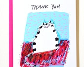 Cat Thank You Card - Thankful Space - Rug Cat - Cat Stationery