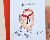 Bonjour Coffee Cat Card- France- Paris- Pigeons- Cafe Cat