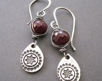 Red Ruby Earrings, Fine Silver Dangles, July Birthstone Earrings, Boho Style Jewelry