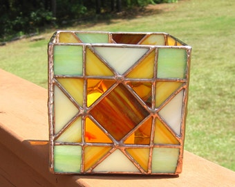Autumn Candleholder Stained Glass Candleholder in Brown, Orange, and Lime Geometric Candle Holder Large Candle Holder Glass Candle Holder