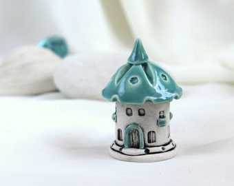 Turquoise Sky House of tiny fairies -- unique Hand Made Ceramic Eco-Friendly Home Decor by studio Vishnya