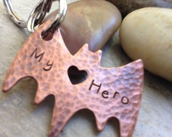 Bat Hero Keychain with heart cut out, Ready to ship