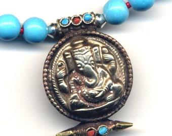 Tibet Ganesha Prayer Box Necklace, Turquoise Magnesite Ganesh Nepal Necklace,Ganesh Ethnic Amulet Necklace, OOAK Nepal necklace by AnnaArt72