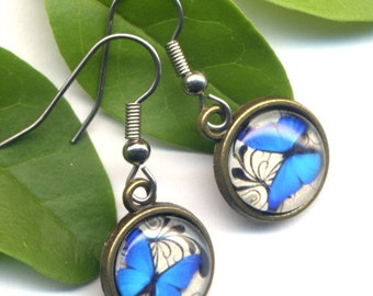 Butterfly Earrings , Surgical Steel Earrings, Surgical Steel Blue Earrings, Blue Butterfly Earrings, Woodland Earrings by AnnaArt72