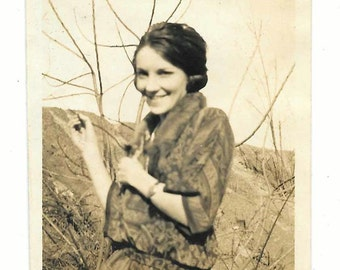 vintage Photo Pretty Teen Woman 1910s snapshot Shy Girl Vernacular Black White Found ephemera