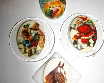 Horse & Christmas Vintage Cabochon Cameo Vintage Santa Flat Back Jewelry Supplies On Backing 70s Cabs Lot 4 Pieces 40x30