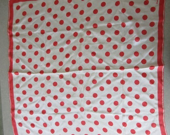 Vintage Vera Scarf, Mod Polka Dots, Red and White, Square Scarf, Vintage Vera Neumann, Mod Scarf, 1970s Accessories, Red Dots, Dotted Scarf