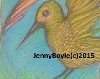 Hummingbird wildlife art aceo magnet print
