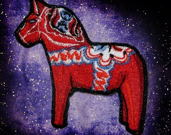 Cute Dala Horse Iron on Patch Sew on Applique embroidered Dalarna Sweden