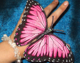 Epic  Life Sized Fantasy Pink Blue Morpho Butterfly Morpho peleides Butterfly Iron on Patch