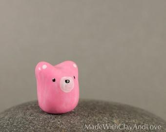 NEW Little Pink Bear - Miniature Polymer Clay Animal Terrarium Figurine - Hand Sculpted