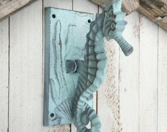 Dragonfly door knocker distressed and rustic brown garden - Seahorse door knocker ...