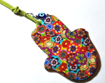 NEW colorful polymer clay Hamsa Hanging wall decor Judaica by orly kliger