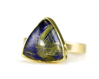 Golden Rutilated Quartz on Lapis Ring - 14k Gold Rutilated Quartz Statement Ring