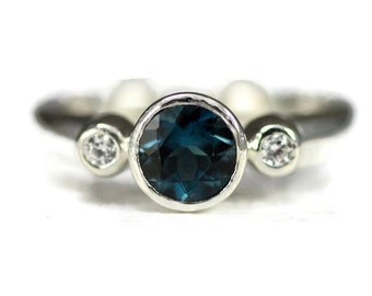 London Blue Topaz Ring, Sterling 3 Stone Ring, 6mm Blue Topaz with 2mm CZ