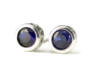 Sterling Stud Earrings - Birthstone Post Earrings - Backset Bezel Studs - Choose Your Gemstones