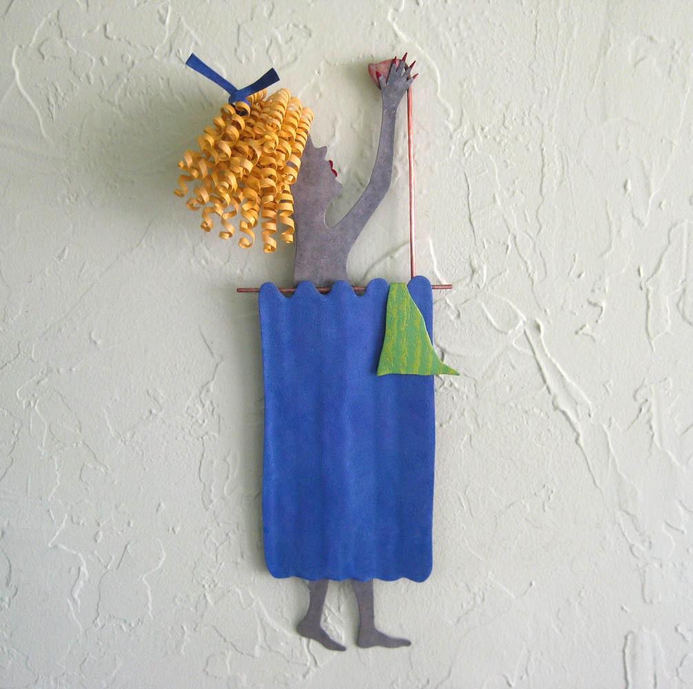 Metal Wall Art For A Bathroom : Metal wall sculpture bathroom art lady in shower blonde blue